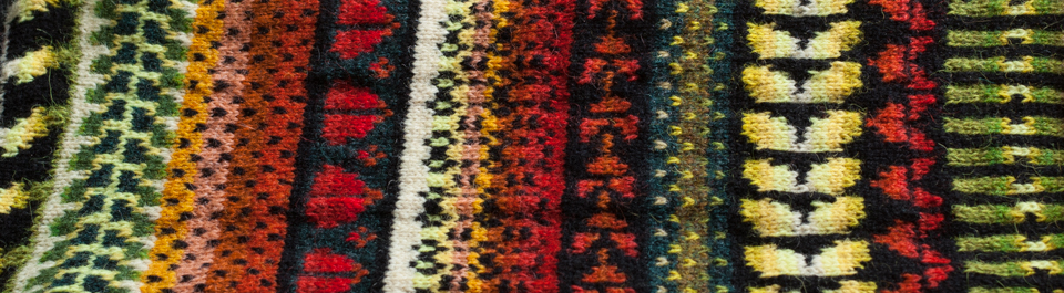Frangipani Caterpillars celebrated in stranded colourwork by KNITSONIK