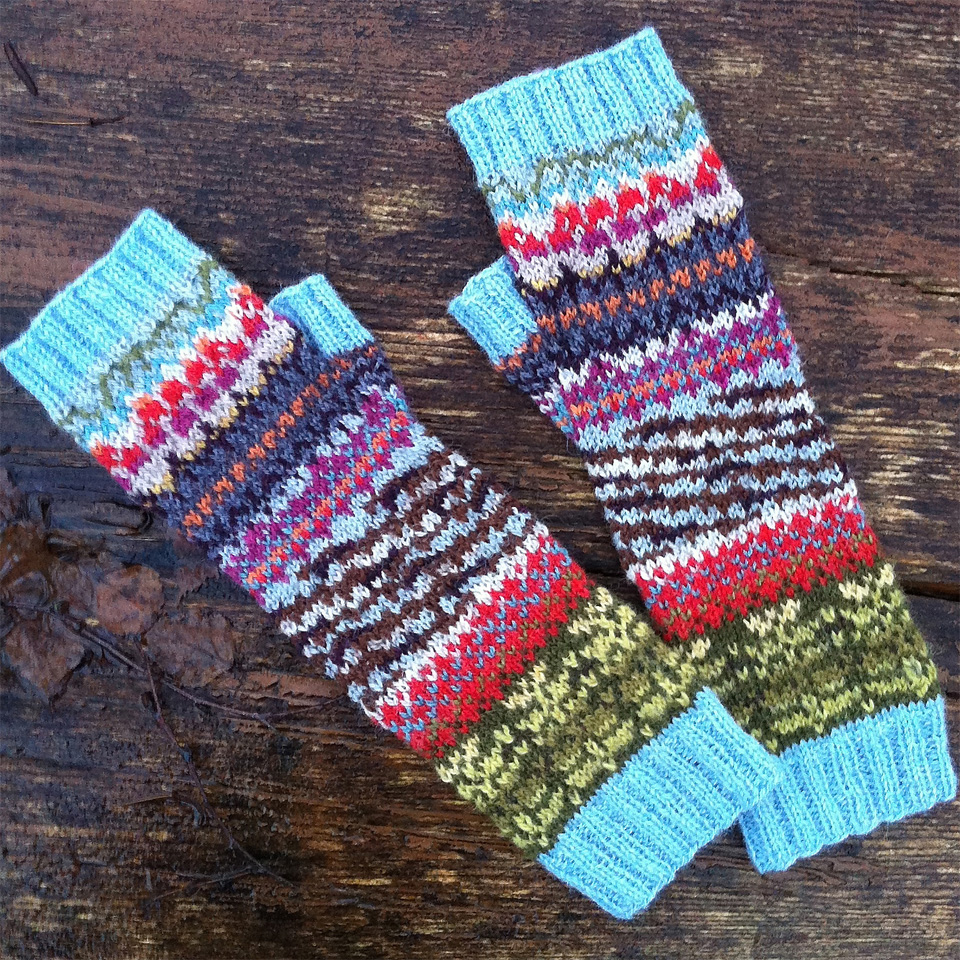 """I'm pretty pleased. I can see my original inspiration source (the rowan tree, bark and berries) in the finished mitts, and they are so nice to wear! :-)"" - Røn - Fair Isle Swatch becomes wristwarmers by BirtheP"