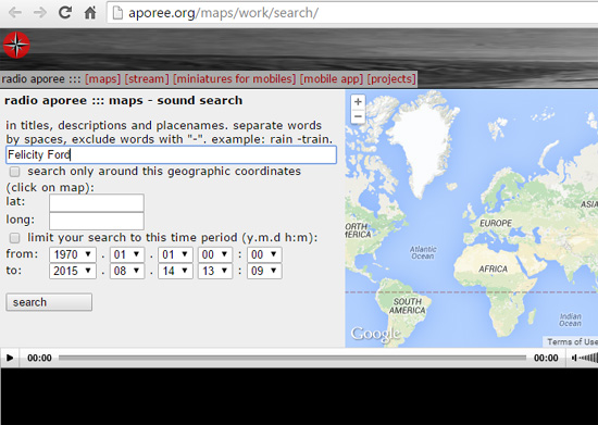 Search for sounds, place names, artist names, anything...