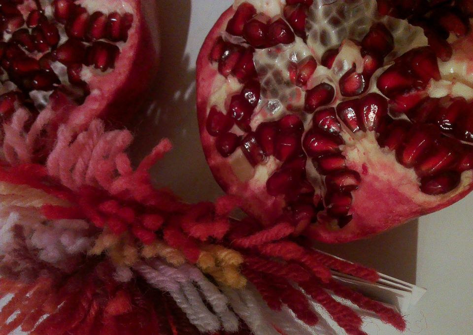 9th January 2015, picking shades with which to knit pomegranates