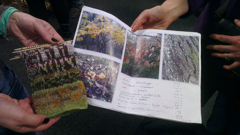 A magnificent swatch-in-progress with its inspiration source, spotted in the wild at the Edinburgh Yarn Festival
