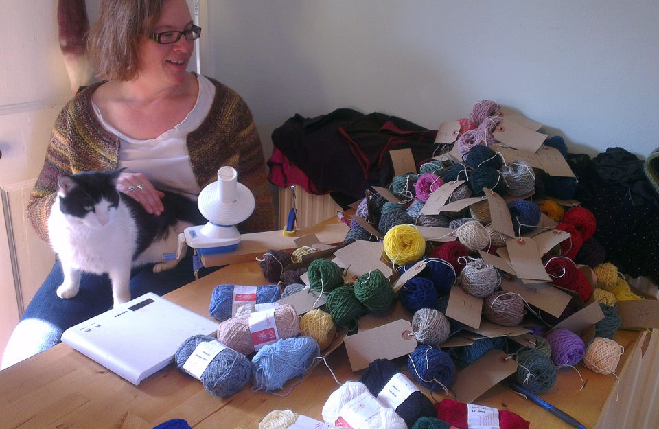 Naughty Joey Muffkins (my silly cat) gets involved in winding mini-balls of yarn for the YITC workshop