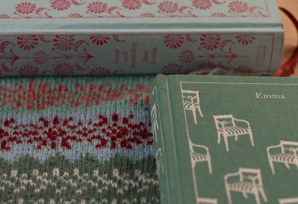 Sense & Sensibility and Emma, and the sections of swatch #1 that they inspired