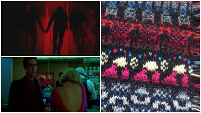The man outlined in red light, the woman in her fuchsia mohair sweater