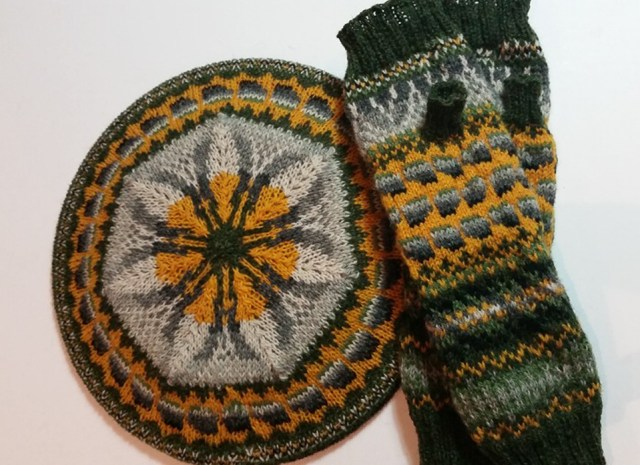 KNITSONIK mitts-a-long mitts and tam