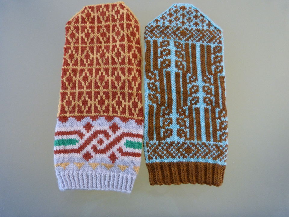 ...and the Guardian mitten inspired by the building (left). The mitten on the right was inspired by the Fisher building