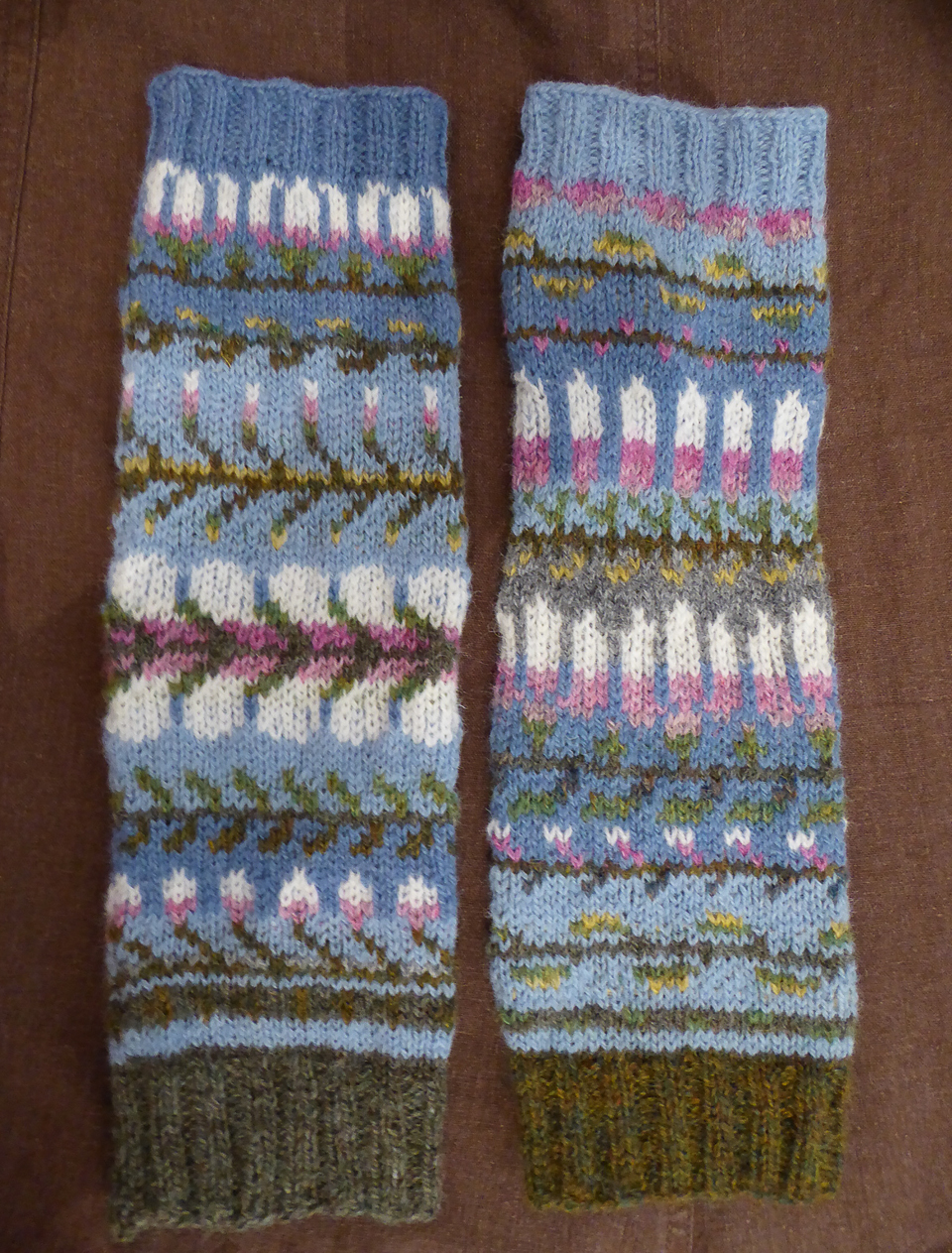 Beautiful magnolia themed mitts, knit by Sarahhandson