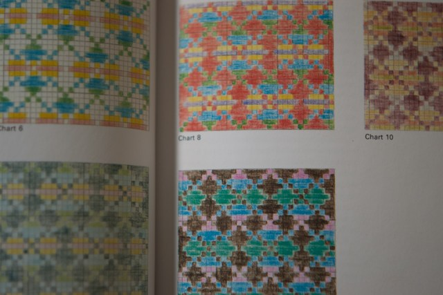 Useful illustrations in Alice Starmore's book of Fair Isle Knitting show how a design is transformed by being worked in different shades