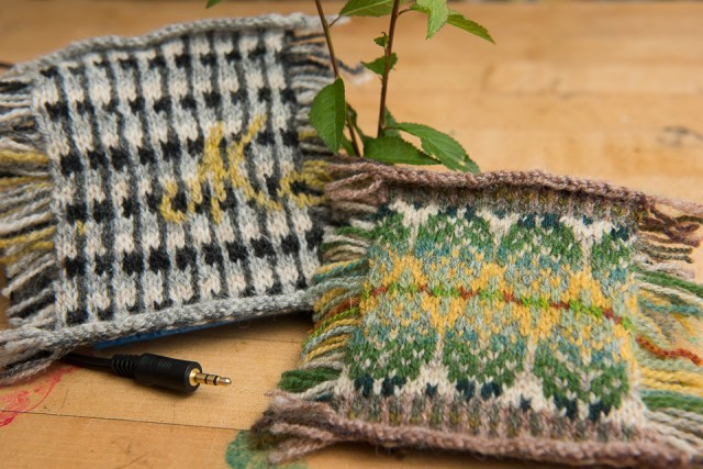 A Marshall Amp, immortalised in stranded colourwork by Muriel (on the left) and leaves in a Tokyo park celebrated in knit by Yumi, on the right.