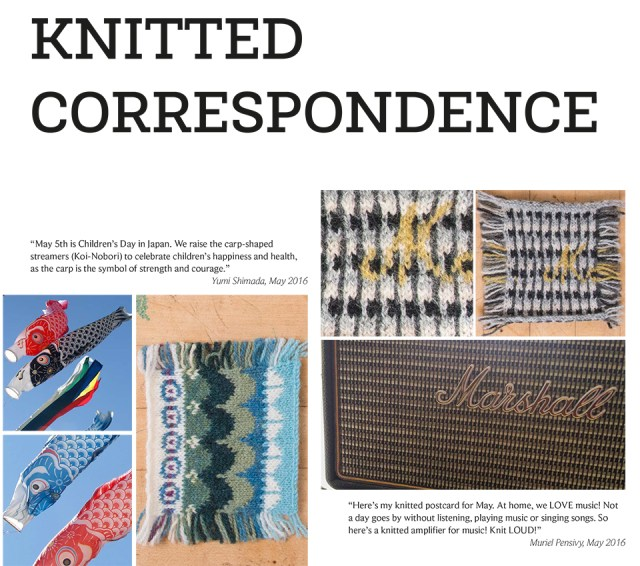 The glorious frontispiece of the Knitted Correspondence chapter in the KNITSONIK Stranded Colourwork Playbook