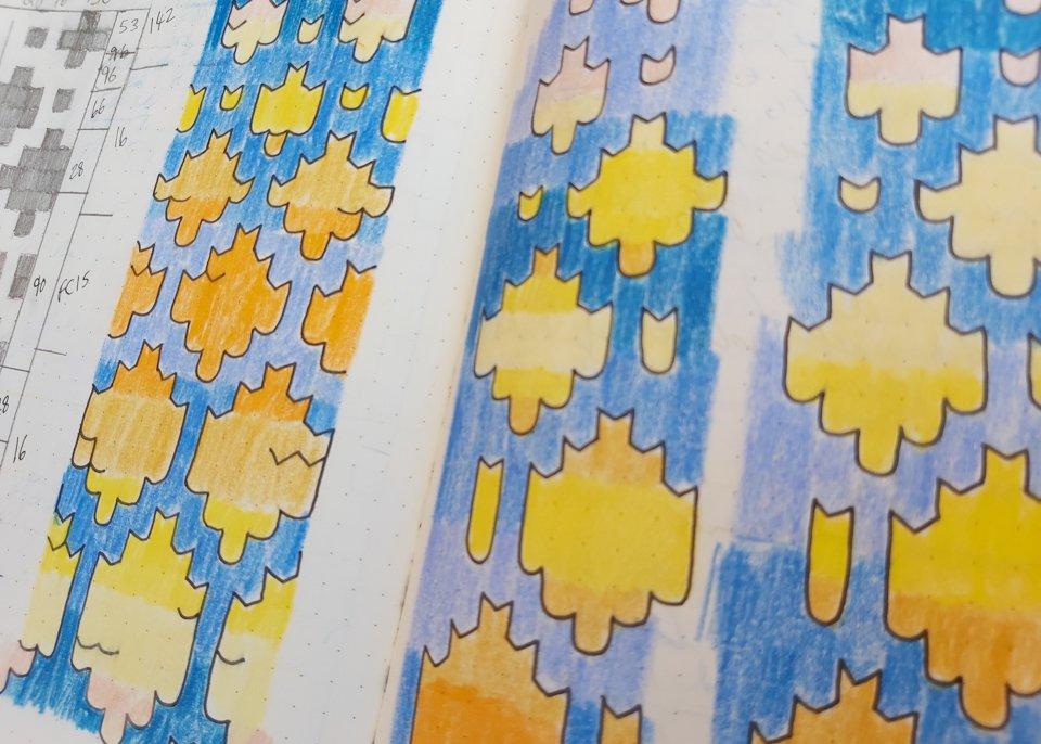 Geometric knitting motifs for Skystone Armwarmers