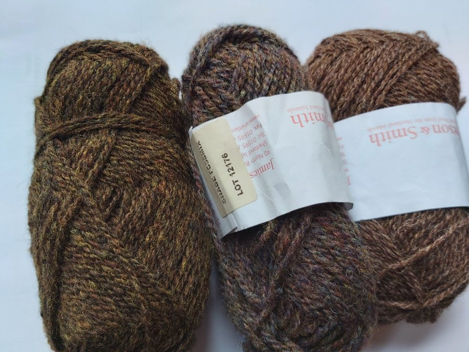 Different shades of brown, FC44, FC58 and 4 in the J&S yarn range read from left to right