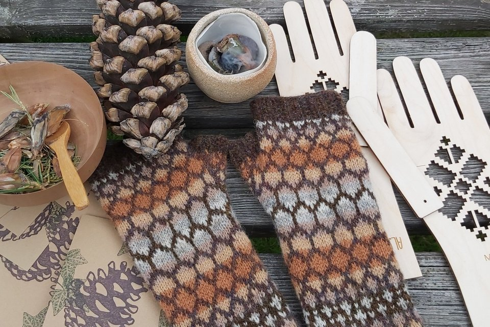 Pinecone Armwarmers, incense, prints and glove blockers
