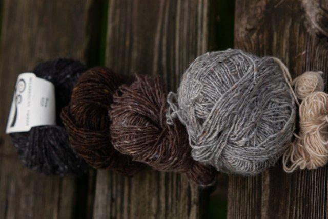 Shades of Milarrochy Tweed: Bruce, Horseback Brown, Hare, Birkin and Hirst