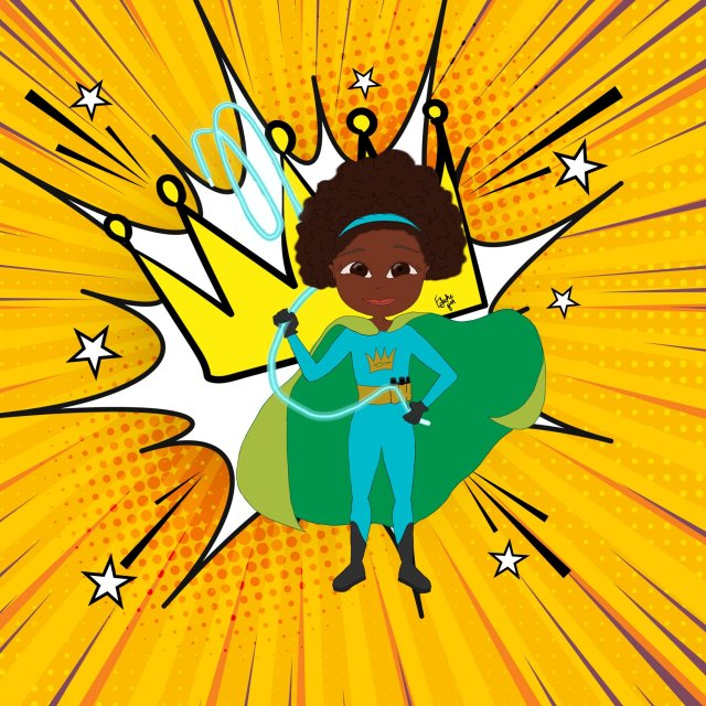 A black superHERo - a girl with a natural black hairstyle stands with cloak billowing, superHERo outfit on, and a background featuring a joyful golden crown and lines of energy radiating outward
