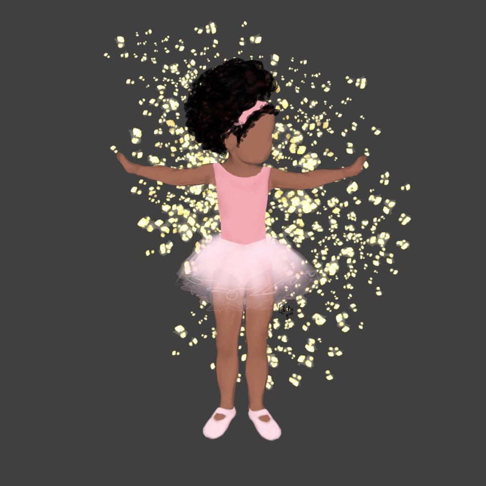 A black girl wears a traditional ballet outfit in soft, pretty pinks, and is surrounded by a cascade of glitter. She stands delicately and happily, with her arms out, as if making - or granting - wishes