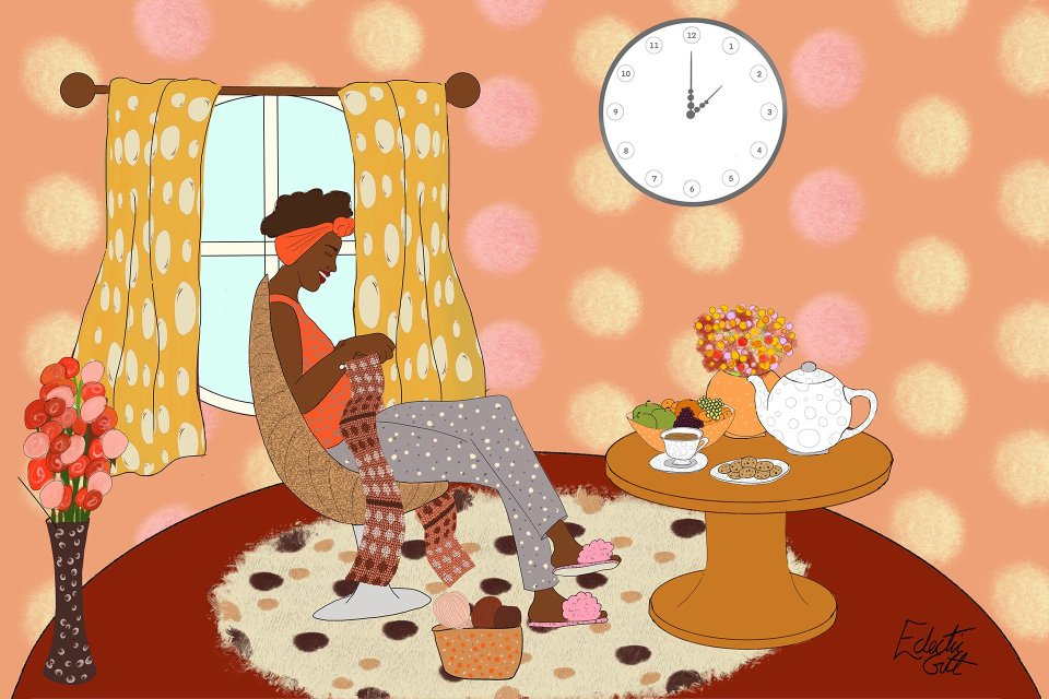A black woman sits in a lovely curvy egg-shaped chair, knitting a dotty cowl. The pyjamas she wears are dotty; the walls are dotty; the rug under her feet is dotty; the curtains are dotty... everything is dotty and all the dots are inspiring her happy-making knitting. She smiles as she knits her dots.