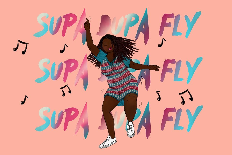 A full-figured black woman wears a sweater with motifs on it which celebrates Missy Elliott with lyrics and drawn motifs from her albums. The dancer is in a pink environment surrounded by musical notes and the words SUPA DUPA FLY in the background in colours that match the sweater she wears