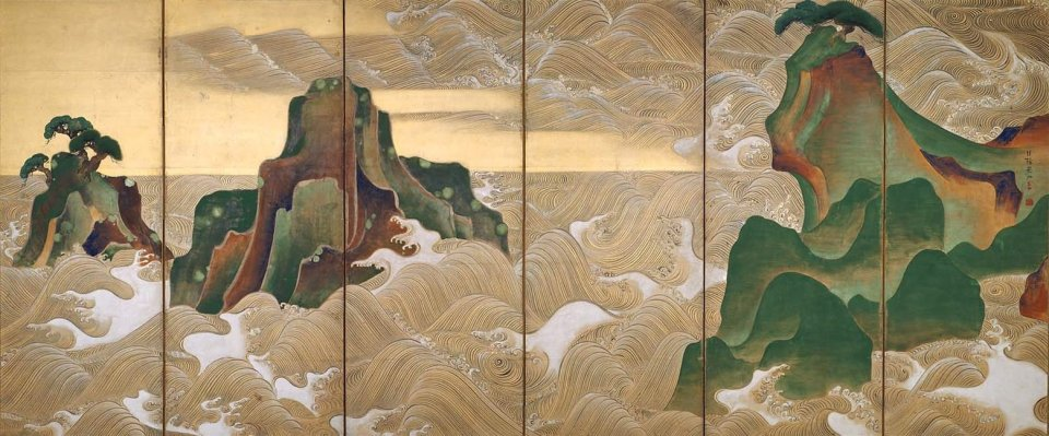 Waves at Matsushima by Ogata Kōrin; a rich palette of greens, oranges and browns shows a sequence of waves rolling against large islands which rise out of the water