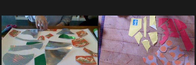 Zoom screen, gallery view, of mine and my niece's art materials laid out ahead of collaging