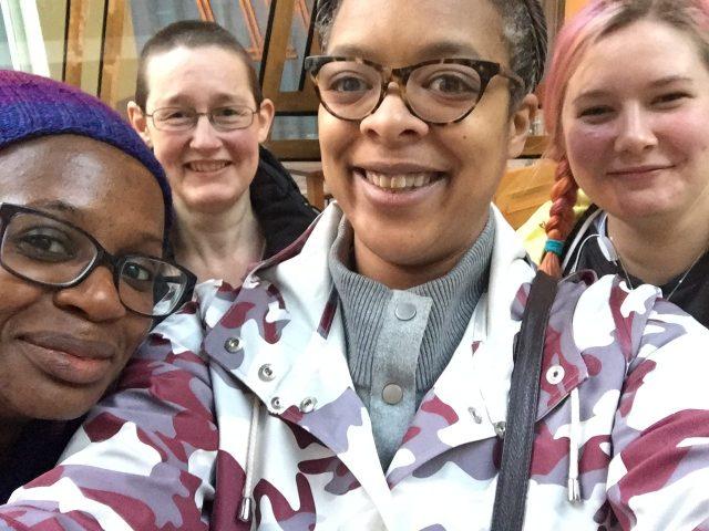 Team Yarningham - from left to right, Venetia Headlam, Helen Winnicott, Sara Fowles and Lilith Winnicottleft to right: