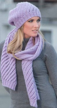 Diagonal Eyelet Scarf And Hat Knitting Pattern  Knitting Bee
