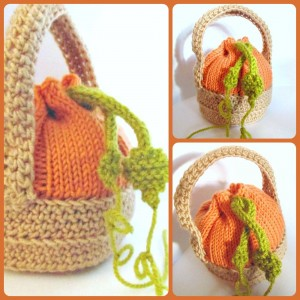 "Kết quả hình ảnh cho Pumpkin Favour Bag Designed by Stitch Geek. A mini ""pumpkin-in-basket"" bag for filling with little autumnal treats! This pattern combines both knitting and crochet to give a unique look to the project."