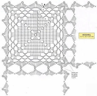 Diamond Square Crochet Bedspread Motif