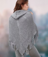 Free Knitting Pattern for a Hoodie Shawl  Knitting Bee