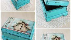 Wood Painting Small turquoise box