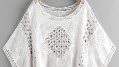 Hollow Out Crochet Panel Embroidered Cover Up