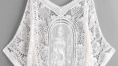 V Neckline Crochet Lace Beach Cover Up