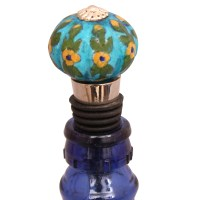 Turquoise Floral Base Bottle Stopper (Set of Two) | Knobco
