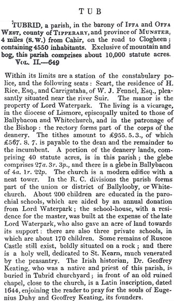 Tubrid in Samuel Lewis' 1837 Topical Dictionary of Ireland