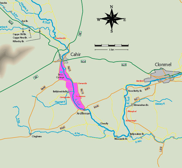 Cahir-to-Ardfinnan-Map