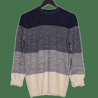 maglione da uomo a righe blu e grigie