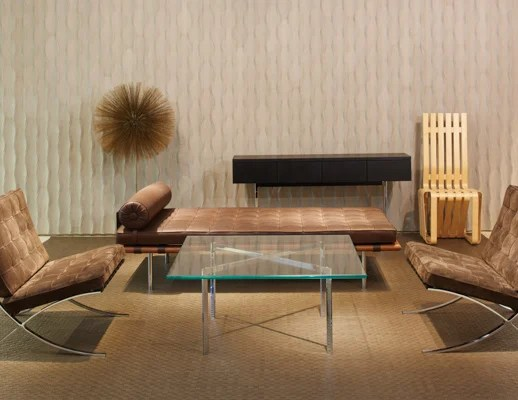 barcelona chair leather pedro friedeberg hand knoll chairs neocon 2015 waiting area activity space ludwig mies van der rohe harry bertoia frank gehry spinneybeck