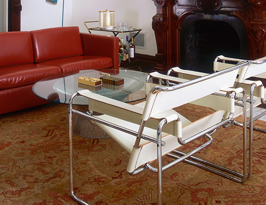 wassily chair brown leather wheelchair evaluation knoll breuer lounge chairs with white straps residential installation