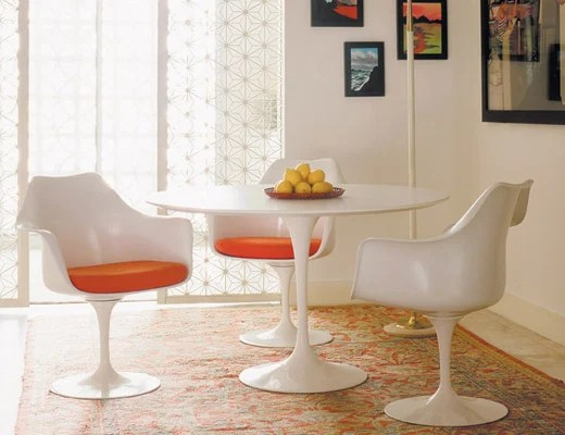 tulip table and chairs menards lawn chair covers saarinen round knoll dining with orange seat pads