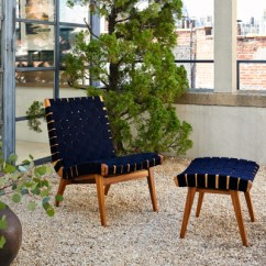 Outdoor Chair And Ottoman Grey Table Chairs Garden Risom Lounge Knoll Navy Sunbrella Webbing Teak