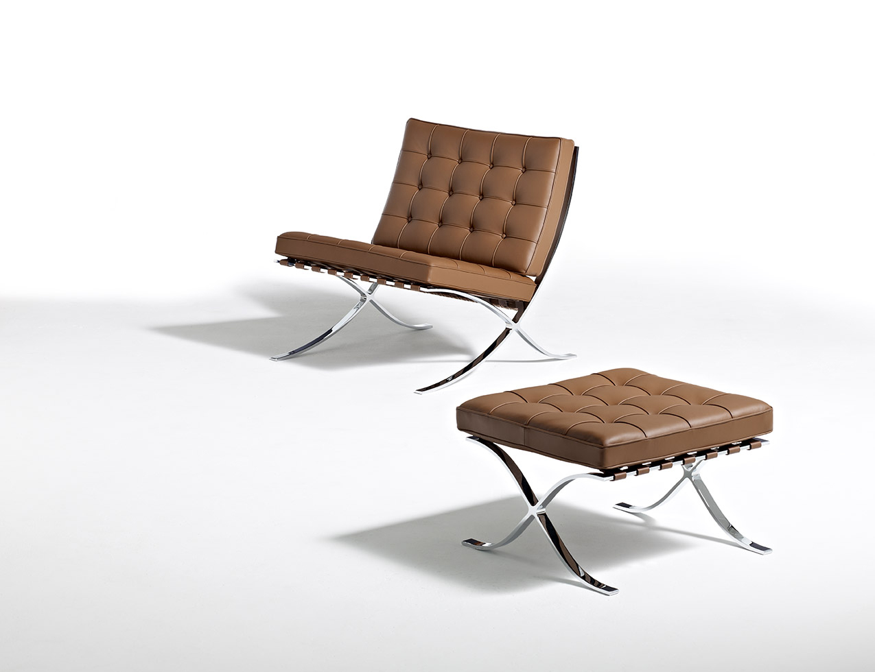 barcelona chair leather folding jysk knoll mies collection van der rohe stool