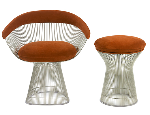 steelcase sofa platner leather blackpool arm chair knoll warren lounge and stool in brown upholstery