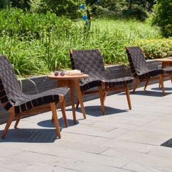 Lounge Outdoor Chairs Patio Chair Pads Risom Knoll Navy Sunbrella Webbing Teak Frame Side Table