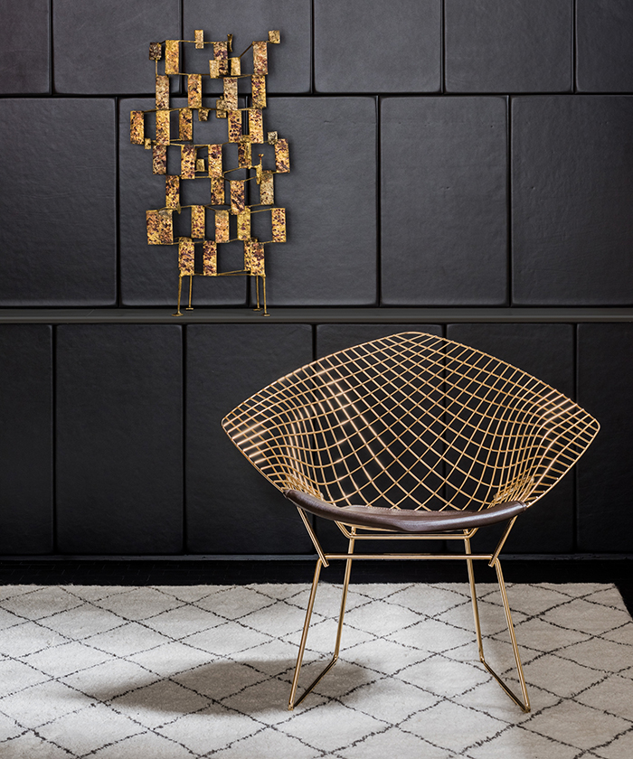steel chair gold cover rentals durham region bertoia inspiration knoll harry s diamond in 18k plated