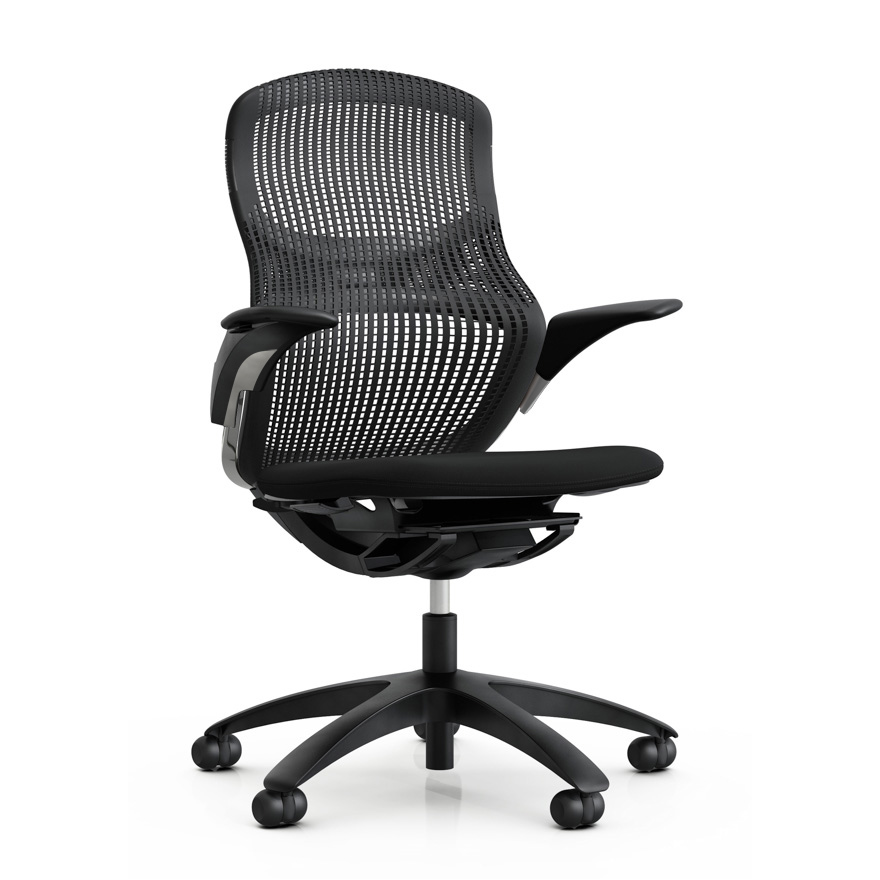 office chair leaning to one side counter height swivel chairs with arms generation by knoll ergonomic