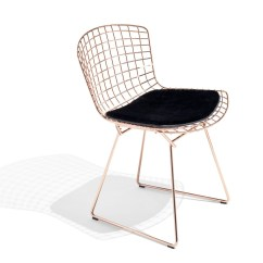 Bertoia Side Chair Green Desk In Rose Gold Knoll