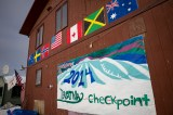 International flags on the checkpoint building