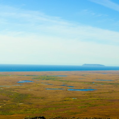 Overlooking the fall-colored tundra atop Anvil Mountain.