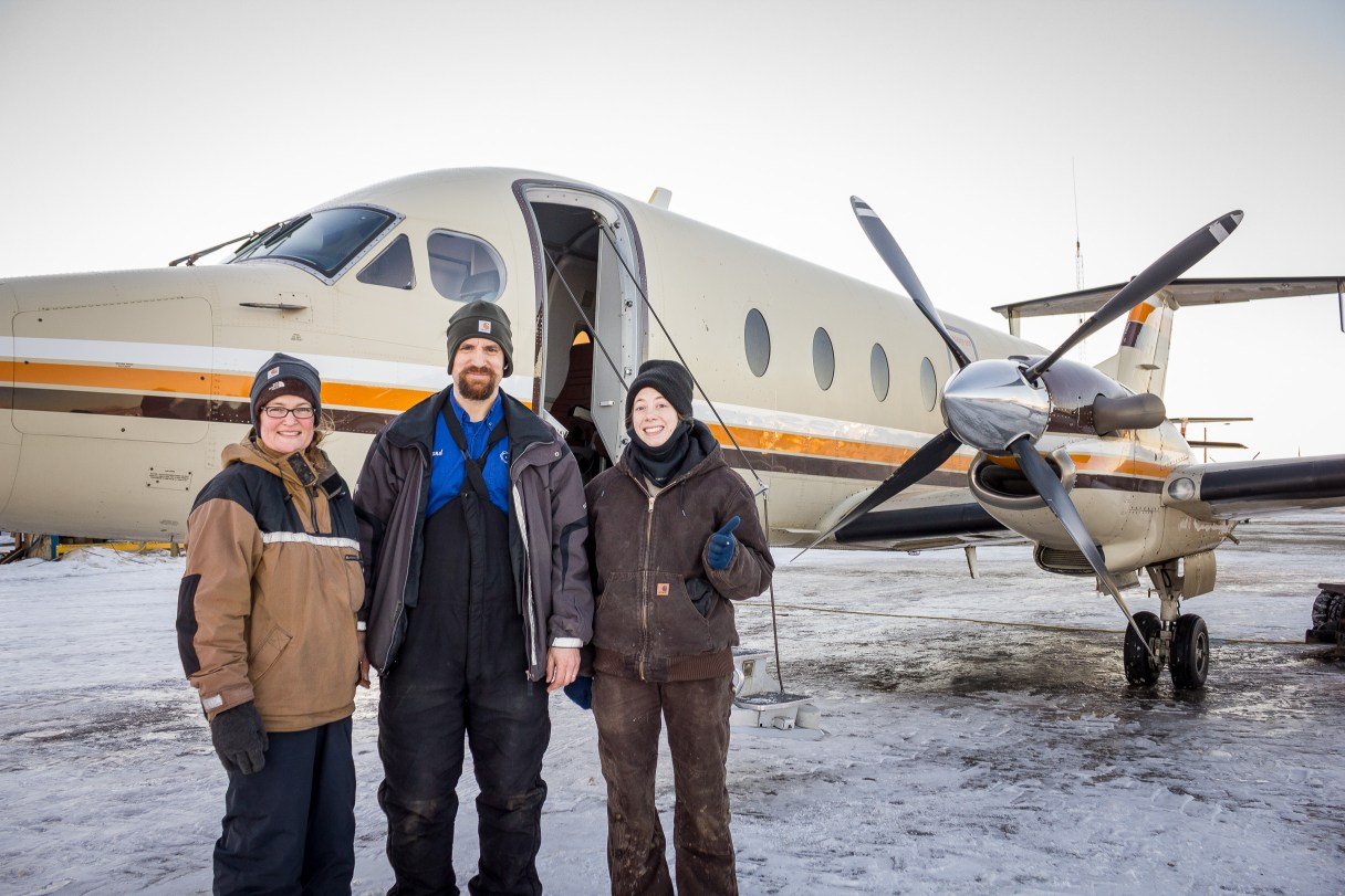 Deb and Rolland Trowbridge and Tara Cicatello, departing Nome for Bethel to compete in the Kuskokwim 300, a mid-distance sled dog race in southwestern Alaska.