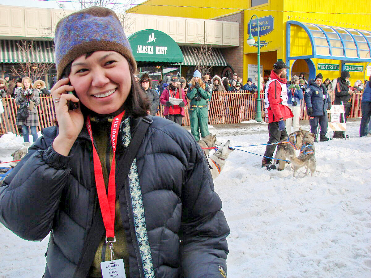 Laureli Ivanoff in Anchorage, Iditarod 2010